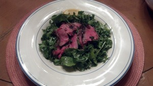 Cab Franc and Grilled Rib Steak with Rosemary & Arugula