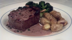 Chateauneuf du Pape with Beef Tenderloin & Green Peppercorn Sauce