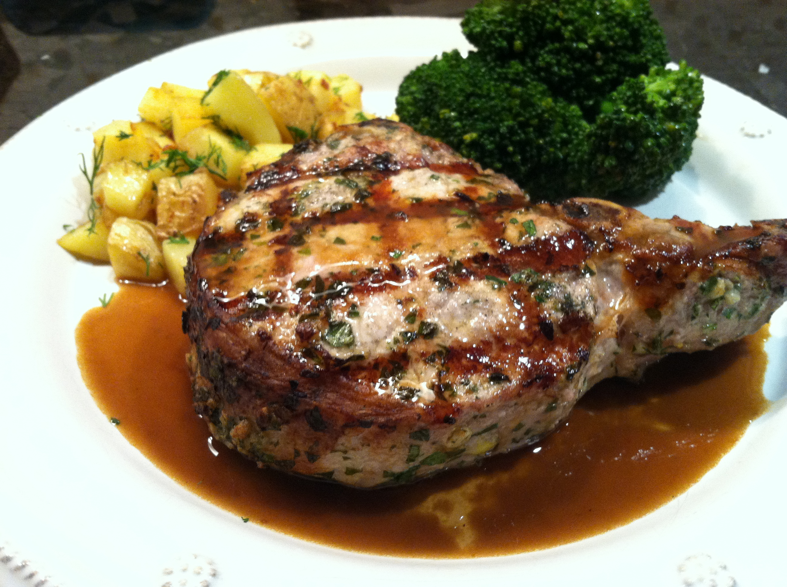 Grilled Pork Chops With Pinot Noir And Espresso Infused Demi Glace