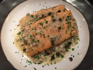 Chardonnay and Roasted Salmon with Anchovy-Garlic Butter Sauce