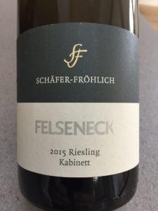 Schafer-Frohlich Felseneck 2015 Riesling Kabinett