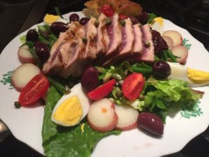 Volnay Burgundy and Salade Niçoise