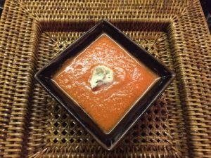Rosé and Chilled Tomato Soup with Tarragon Crème Fraiche